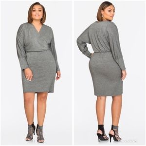 Ashley Stewart Glitter Blouson Dress Silver 18/20
